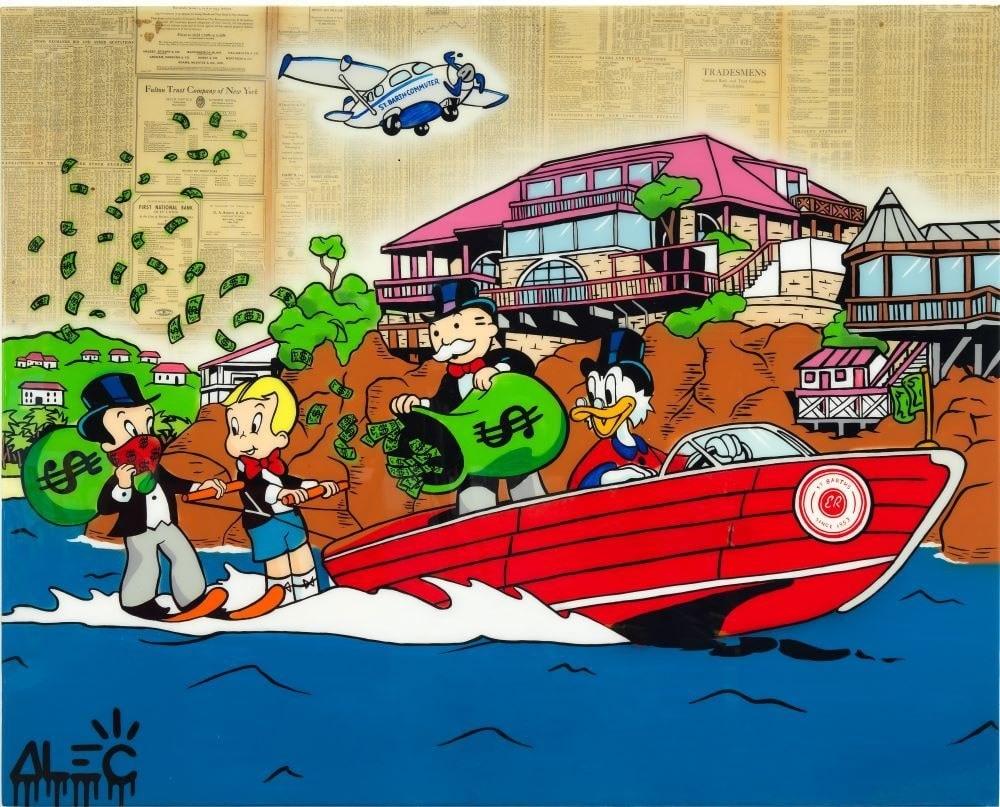 $ TEAM SPEEDBOAT WATERSKI-ALEC MONOPOLY-Pop Art
