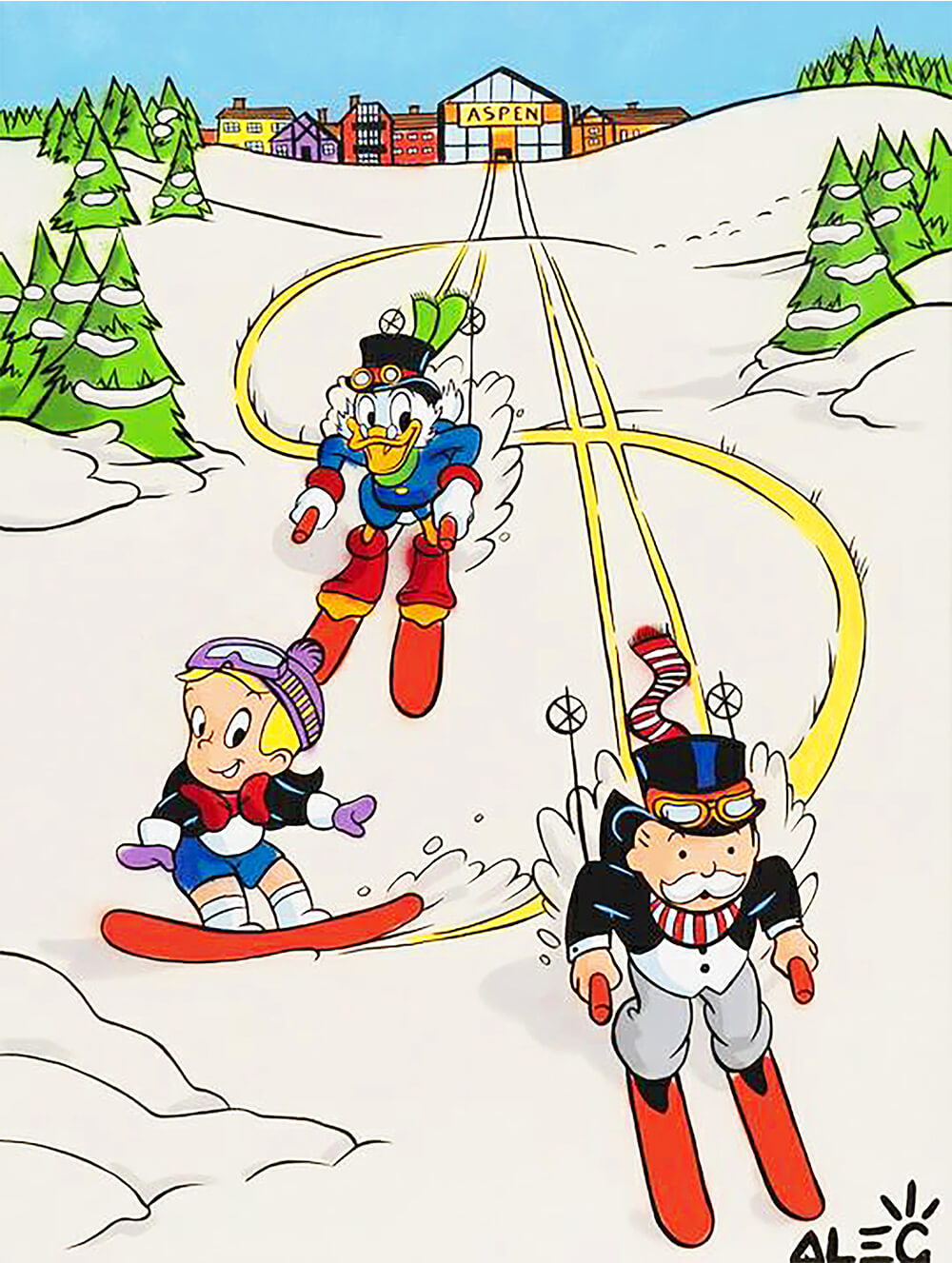 Alec Monopoly - $ Team Skiing In Aspen- Eden Gallery