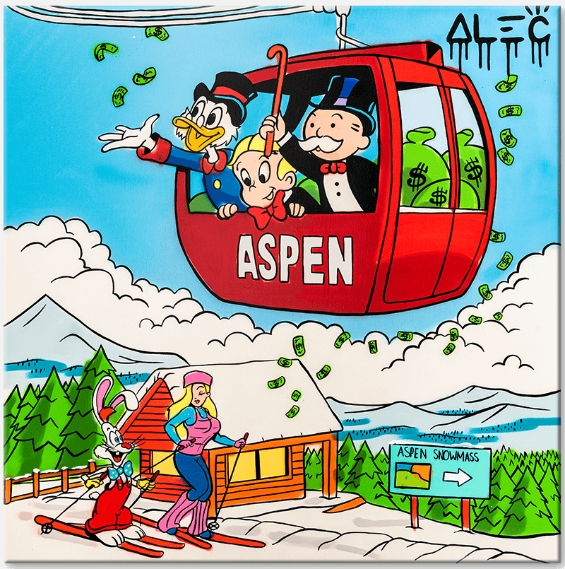 $ TEAM IN ASPEN SKI GONDOLA - Eden Gallery - Alec Monopoly