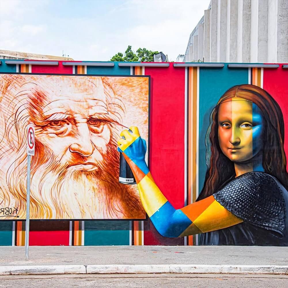 Eduardo Kobra graffiti mural mona lisa leonardo davinci what is public art