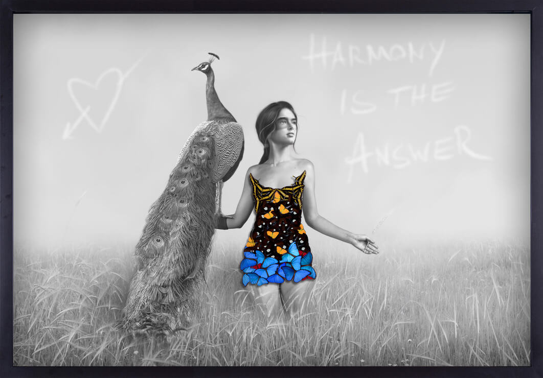 SN art girl in butterfly dress with peacock black and white photography
