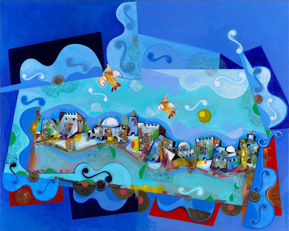 blue painting yoel benharrouche art