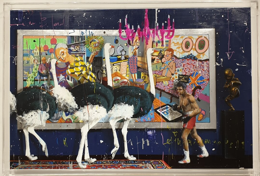 Angelo Accardi ostrich muhammad ali painting