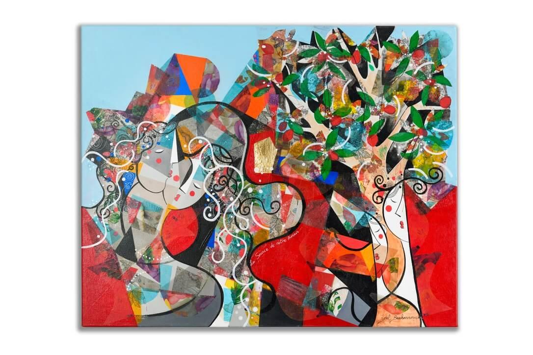 colorful art tree yoel benharrouche painting