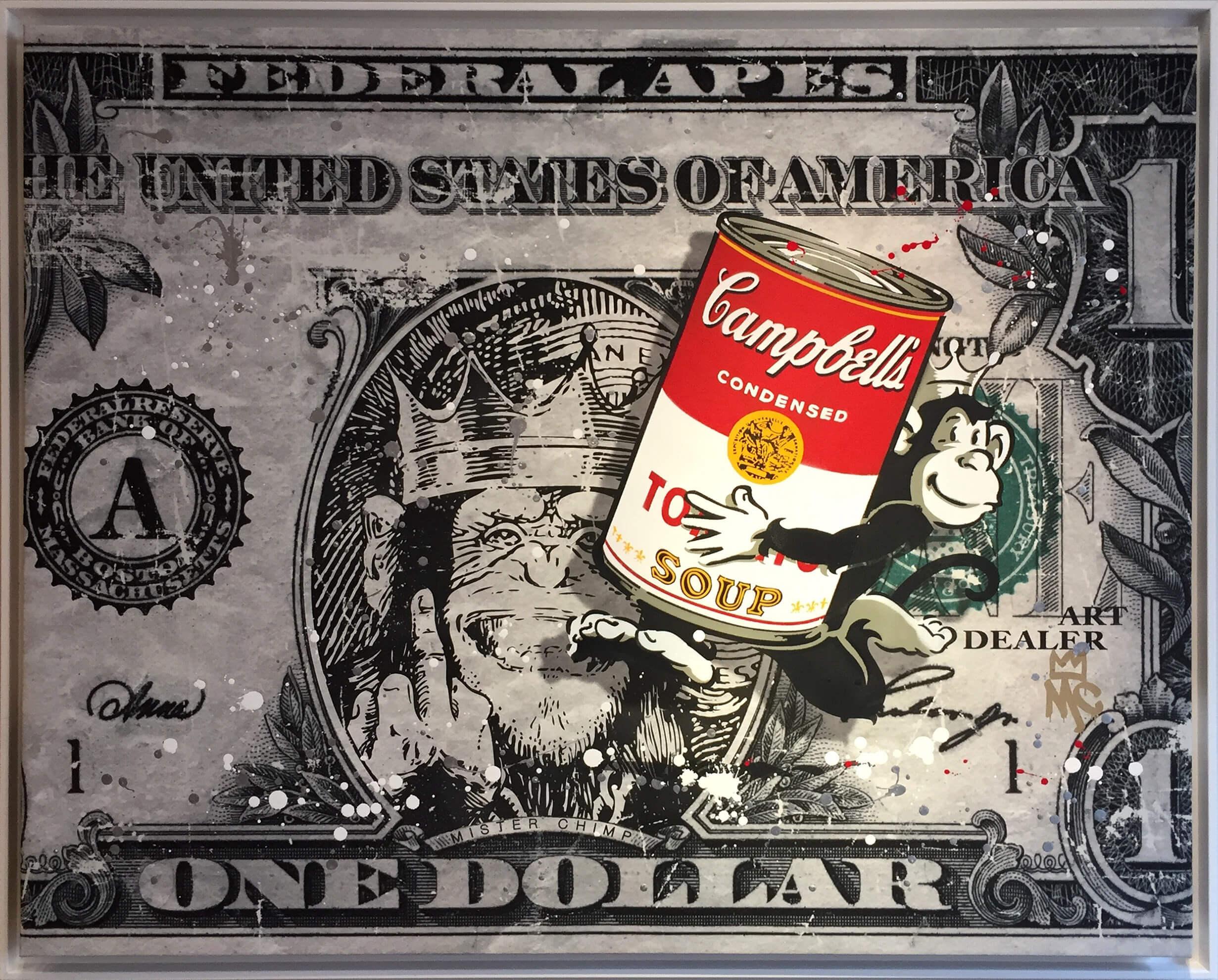 campbell's soup can pop art dollar bill