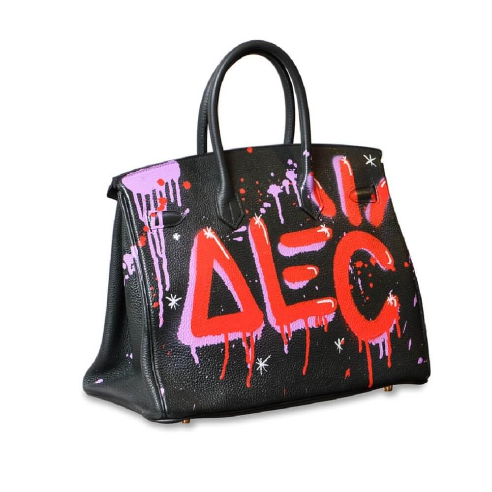 alec monopoly graffiti art hermes birkin bag